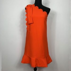 Victoria Beckham Orange One Shoulder Bow Dress